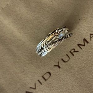 David yurman sterling & 18k crossover x ring s6.5